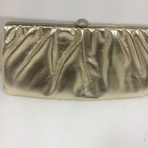 Handbags - Gold Clutch with Chain.